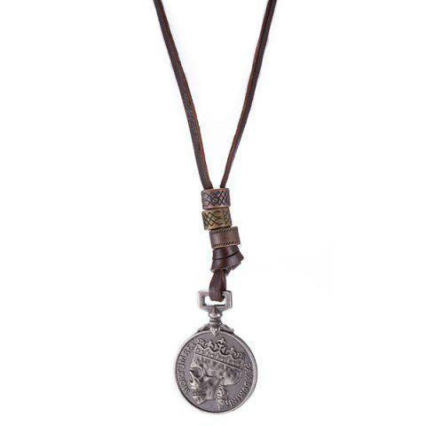 Fashion Skull Head Souvenir Coin Pendant Necklace