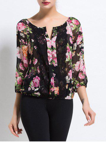 Best Scalloped Lace Floral Print Sheer Blouse BLACK XL