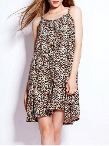 Buy Loose-Fitting Leopard Spaghetti Strap Dress