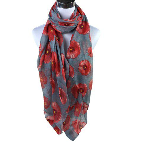 Poppy Flower Print Voile Scarf - Gray