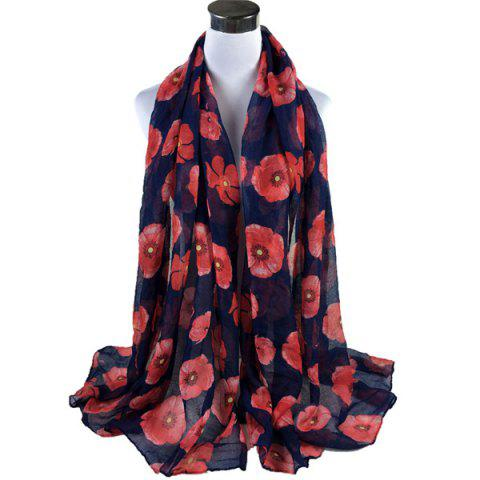 Latest Poppy Flower Print Voile Scarf - DEEP BLUE  Mobile