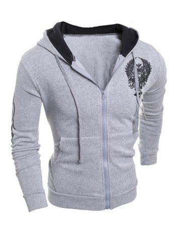 Cheap Printing Hooded Zip-Up Drawstring Hoodie - L GRAY Mobile