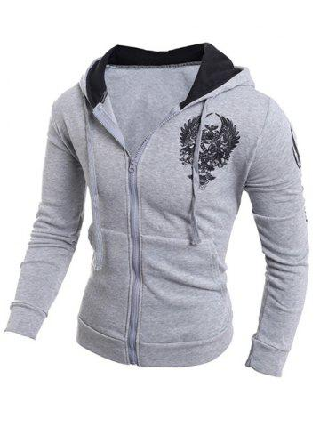 Fashion Printing Hooded Zip-Up Drawstring Hoodie - L GRAY Mobile