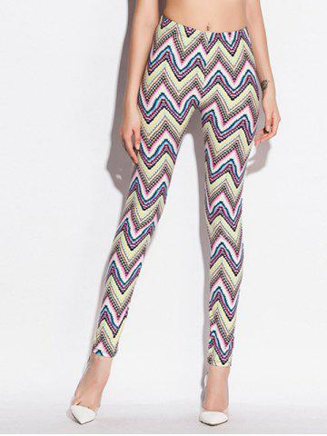 Best Zigzag Pattern Skinny Elastic Waist Leggings COLORMIX ONE SIZE