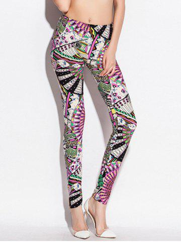 Outfits Skinny Elastic Waist Big Pinwheel Print Leggings COLORMIX ONE SIZE