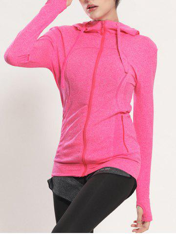 Hot Quick Dry Hooded Sporty Coat - ROSE RED L Mobile