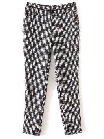 Unique Houndstooth Patterned Tapered Pants