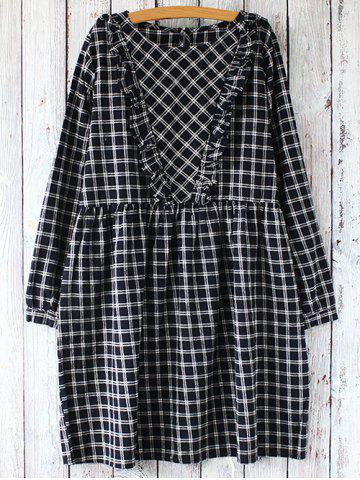 Hot Gingham Check Long Sleeve Dress