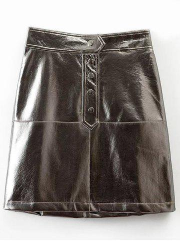 Online High Waisted PU Leather Skirt