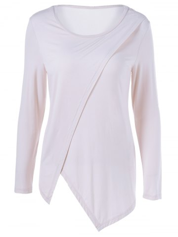 Chic Asymmetrical Scoop Neck T-Shirt PINKBEIGE S