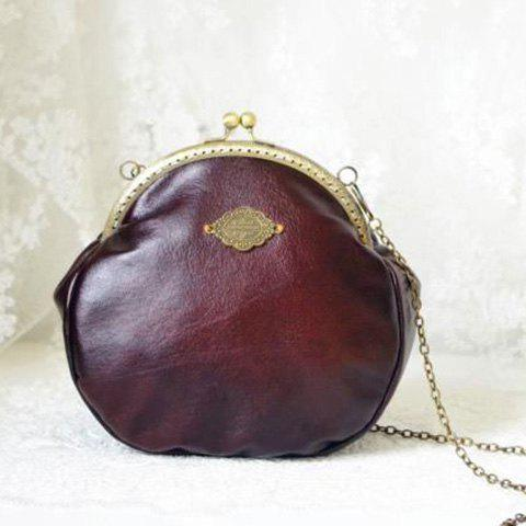 Shops Metal Vintage Kiss Lock Closure Crossbody Bag DEEP BROWN