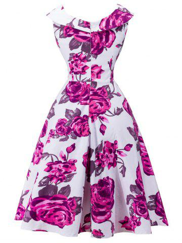 Buy Retro Rose Floral Print Capelet Dress - S WHITE Mobile