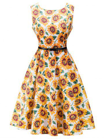 Sale Retro High Waisted Sunflower Dress