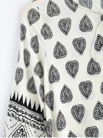 Unique Tribal Print Tunic Mini Dress with Sleeves - M BLACK Mobile