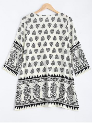 Buy Tribal Print Tunic Mini Dress with Sleeves - M BLACK Mobile