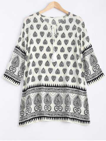 Unique Tribal Print Tunic Mini Dress with Sleeves - XL BLACK Mobile