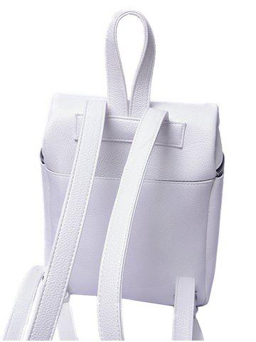 Latest Textured PU Leather Zip Backpack - WHITE  Mobile