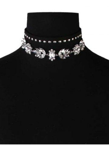 Unique Faux Crystal Leather Velvet Rivets Chokers BLACK