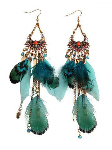 Cheap Rhinestone Feather Fan-Shaped Boho Jewelry Earrings