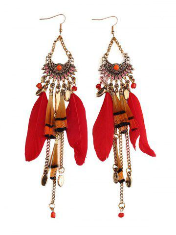Sale Rhinestone Feather Fan-Shaped Boho Jewelry Earrings