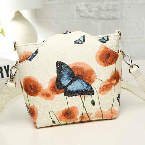 Store Twist-Lock Butterfly Print PU Leather Crossbody Bag