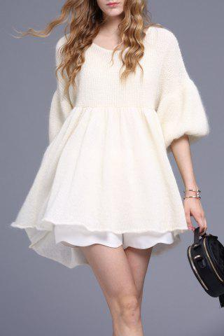 A Line Mini Knitted Dress - White - S