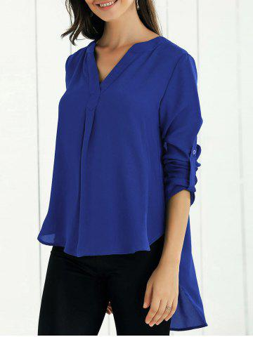 New V Neck High-Low Blouse - XL SAPPHIRE BLUE Mobile