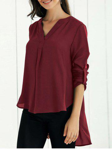Fancy V Neck High-Low Blouse - S WINE RED Mobile