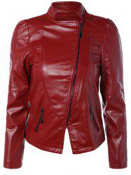 Zip PU Leather Biker Jacket - WINE RED
