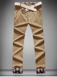 Plaid Cuffs Zipper Fly Buttoned Casual Pants
