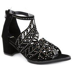 Block Heel Rhinestone Sandals - BLACK
