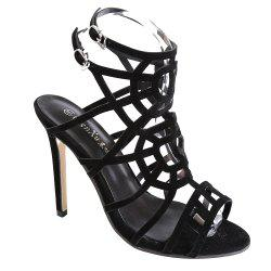 High Heel Slingback Caged Sandals - BLACK