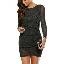 Sequined See-Through Skinny Dress -
