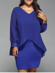 Long Sleeve Popover Dress - BLUE