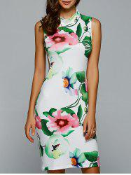 Floral Openback Sleeveless Bodycon Dress - WHITE