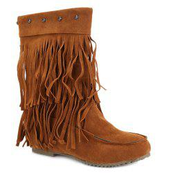 Studded Fringe Mid Calf Boots - BROWN