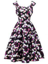 Retro Cape Sleeve Flounced Floral Dress - BLACK S