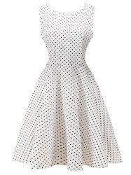 Retro High Waist  Dot Dress -