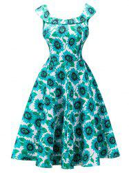 Retro High Waisted Sunflower Capelet Dress - BLUE GREEN 2XL