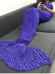 Keep Warm Acrylic Knitted Sofa Mermaid Tail Style Blanket - PURPLE