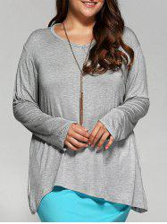 Loose Asymmetric Long T-Shirt - LIGHT GRAY