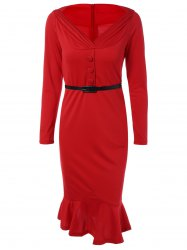 Belted Packet Buttock Mermaid Dress - RED 3XL