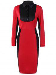Buttoned Long Sleeve Color Block Bodycon Dress