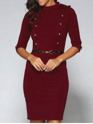 Belted Double-Breasted Work Sheath Dress -