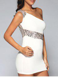One-Shoulder Sequined Club Bodycon Dress -