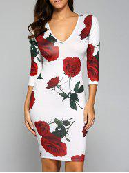 Rose Print V Neck Bodycon Bandage Dress