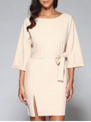 Belted Slit OL Dress - NUDE