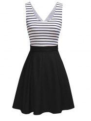 Back Faux Wrap Cutout Stripe Skater Dress -