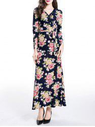 Wrapped Long Floral Print Maxi A-Line Dress - PURPLISH BLUE XL