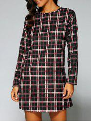 Long Sleeve Checked A-Line Dress -